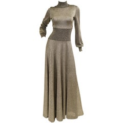 1970s Emilio Pucci Metallic Silver Knit Gown S