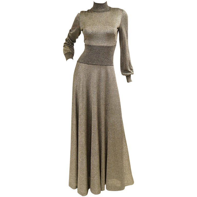 1970s Emilio Pucci Metallic Silver Knit Gown S For Sale