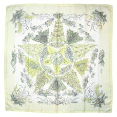 Hermes Yellow Pythagore Floral Printed Silk Scarf 90cm