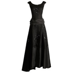 1940s Jack Herzog Vintage Black Lace + Sequin Embellished Evening Gown/ Dress