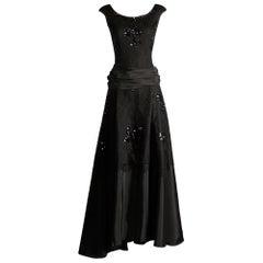 1940s Jack Herzog Vintage Black Lace + Sequin Embellished Evening Gown/ Dress