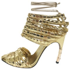 S/S 2004 TOM FORD for GUCCI GOLD PYTHON CORSET SHOES