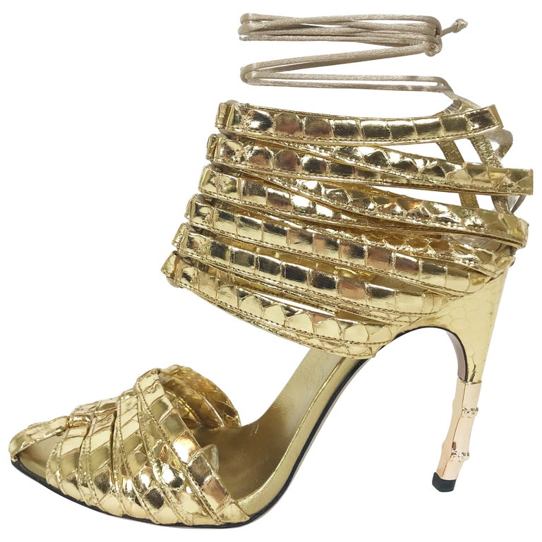 5125a2a7eb5e S S 2004 TOM FORD for GUCCI GOLD PYTHON CORSET SHOES For Sale at 1stdibs