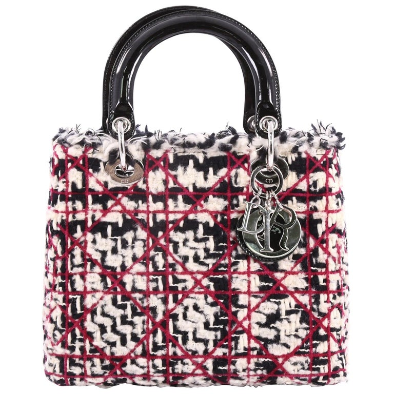 Christian Dior Lady Dior Handbag Quilted Tweed with Patent Medium