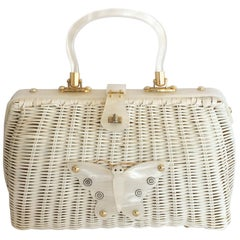 Mid Century white wicker and lucite butterfly handbag bag