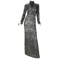 TOM FORD SMOKEY GREY LACE BROKEN MIRROR EMBROIDERY COLUMN DRESS New with tags