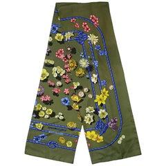 "Hermes Green Fleurs De Montague Floral Printed Silk Scarf 70"""