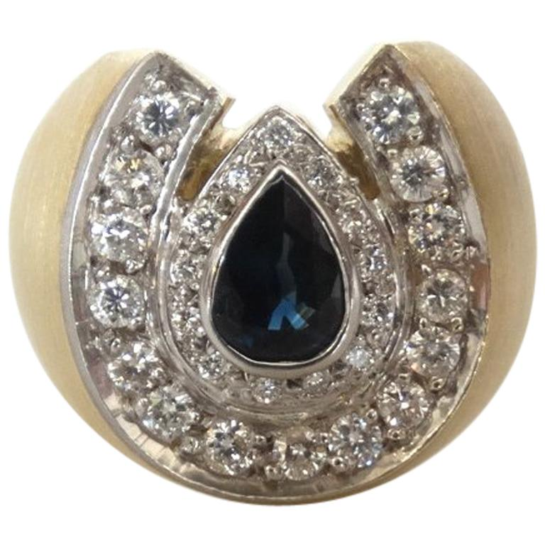 07e1aba261e9f 14k Gold White Diamond and Sapphire Horseshoe Mens Ring
