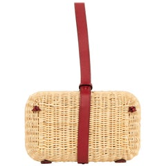 Hermes Bag Picnic Osier Wicker Clutch Rouge H New