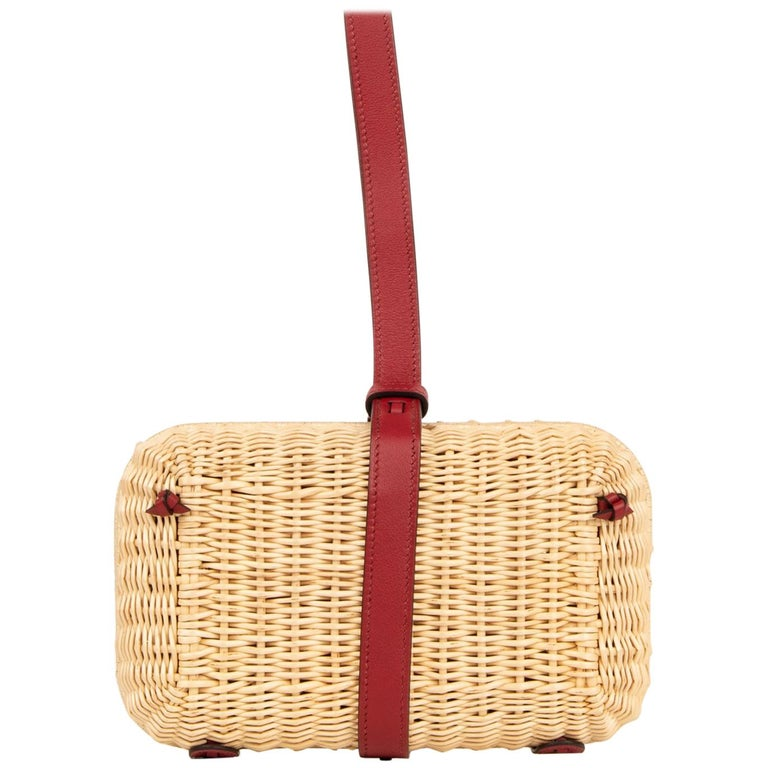 Hermes Bag Picnic Osier Wicker Clutch Rouge H New For Sale