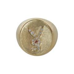 14K Gold Diamond and Ruby Playboy Bunny Mens Signet Ring
