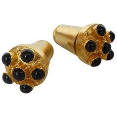 22k Gold & Onyx Futuristic Earrings