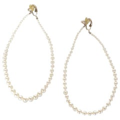 Rare 2014 Chanel Fall Pearl Hoop Earrings