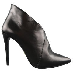 PRADA Size 9.5 Black Leather Pointed Ankle Booties