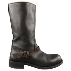 BOTTEGA VENETA Size 10 Black Leather Brown Ankle Strap Biker Boots