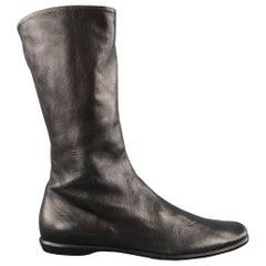 JIL SANDER Size 6 Black Leather Flat Calf High Boots
