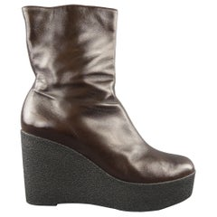 ROBERT CLERGERIE Size 10 Brown Leather Crepe Platform Wedge Ankle Boots