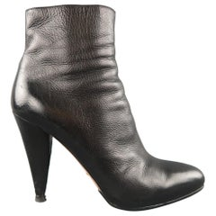 PRADA Size 9.5 Black Leather Pointed Cone Heel Ankle Boots