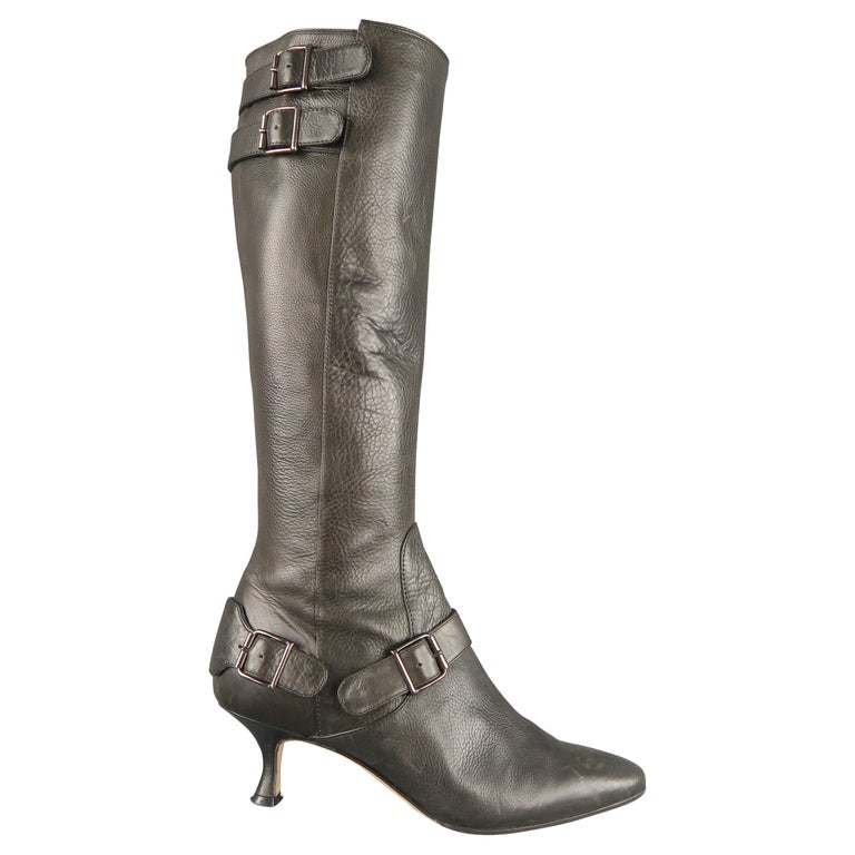 MANOLO BLAHNIK Size 6.5 Slate Gray Leather Pointed Knee High Boots For Sale