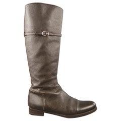 JIL SANDER Size 10 Brown Pebble Grain Leather Knee High Boots