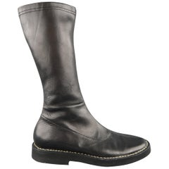 ANN DEMEULEMEESTER Size 6.5 Black Leather Conrast Stitch Calf Boots