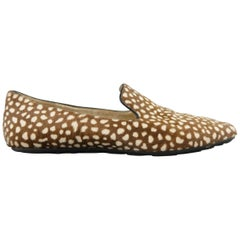 JIMMY CHOO Size 6.5 Brown & Cream Animal Spotted Pony Hair Loafer Flats