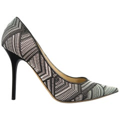 JIMMY CHOO Size 9 Black & White Woven Fabric ABEL Pointed Pumps