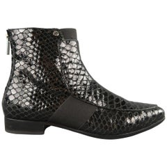 JIMMY CHOO Size 6.5 Black Patent Snake Leather MALICE Ankle Boots