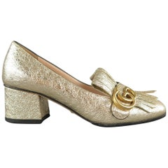 GUCCI Size 6.5 Gold Crackled Leather MARMONT GG Eyelash Loafers