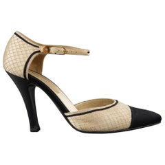 CHANEL Size 7 Black & Beige Quilted Silk Pointed Toe Cap Mary Jane Pumps