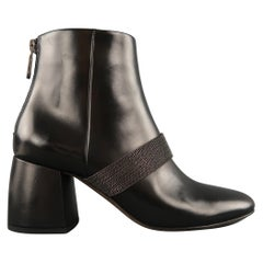 BRUNELLO CUCINELLI Size 6.5 Black Leather Monili Chain Strap Chunky Ankle Boots