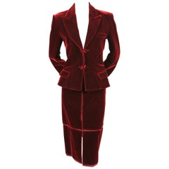 2002 TOM FORD for YVES SAINT LAURENT burgundy velvet runway suit