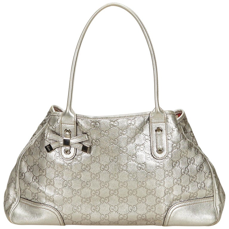 87bb6440a94 Gucci Silver Guccissima Leather Princy Tote For Sale at 1stdibs