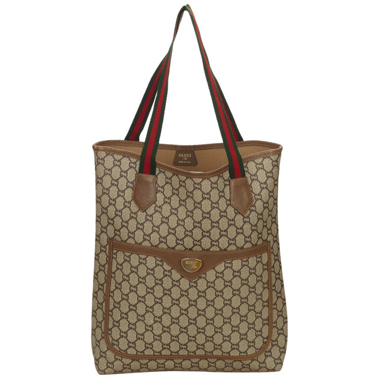 6c2ee64e34ca49 Gucci Brown x Beige Guccissima Web Supreme Tote Bag at 1stdibs