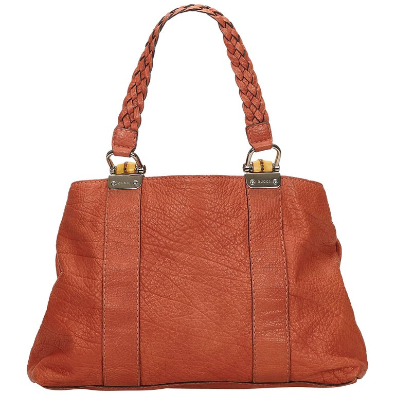 4d514a525d7d Gucci Orange Bamboo Bar Leather Handbag For Sale at 1stdibs