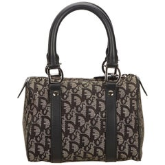 Dior Gray x Dark Gray x Black Oblique Canvas Boston Bag