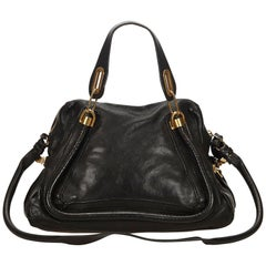 Chloe Black Leather Paraty Satchel