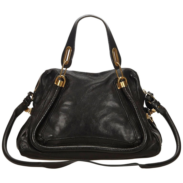 Chloe Black Leather Paraty Satchel