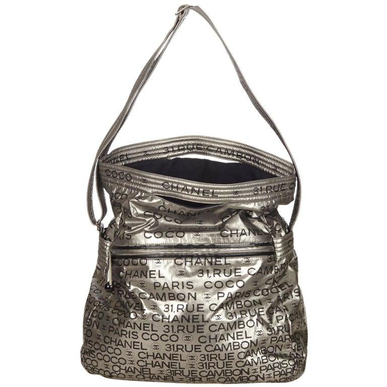 760715f06646 Chanel Silver x Black Unlimited Nylon Shoulder Bag For Sale at 1stdibs