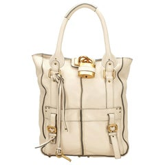 Chloe White Leather Paddington Tote