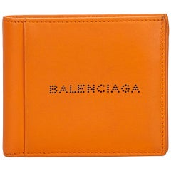 Balenciaga Orange Small Leather Wallet