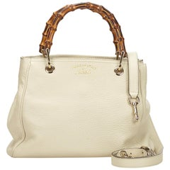 Gucci White x Ivory Mini Bamboo Leather Shopper