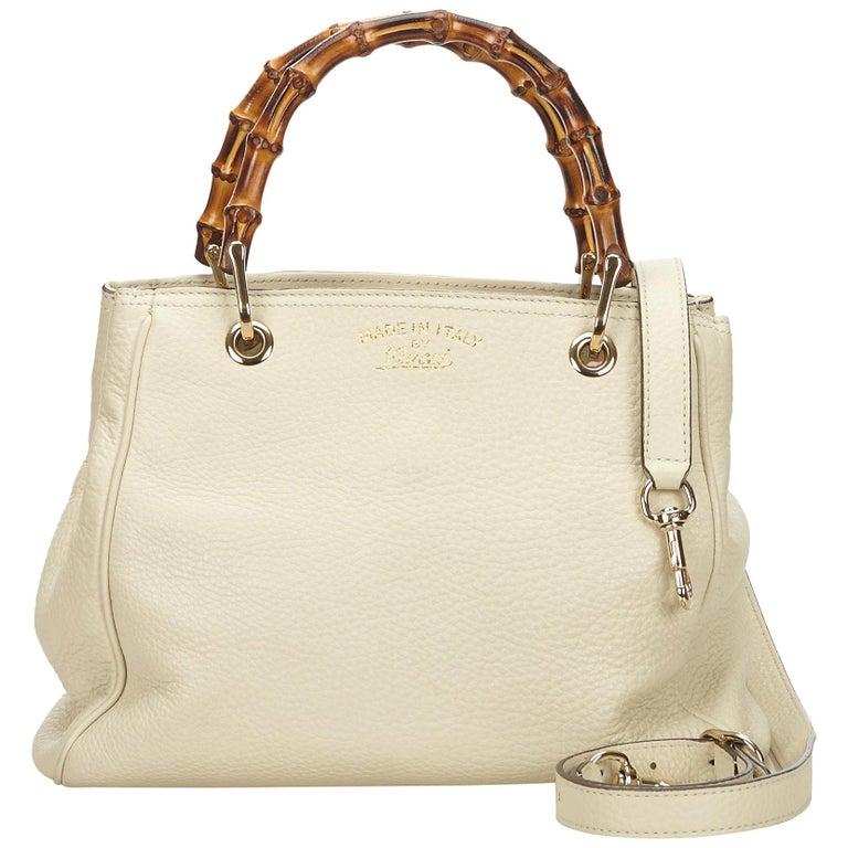 d4a1912e277 Gucci White x Ivory Mini Bamboo Leather Shopper at 1stdibs