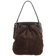 Cartier Brown Python Suede Shoulder Bag