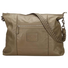 Gucci Gray x Brown x Beige Leather Shoulder Bag