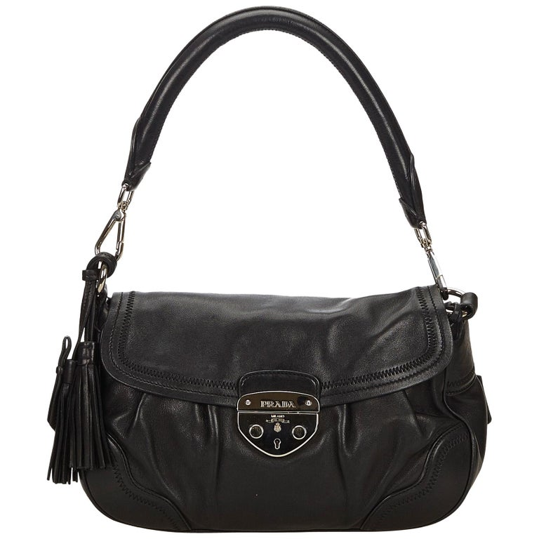 1543dfa753ed Prada Black Leather Baguette at 1stdibs
