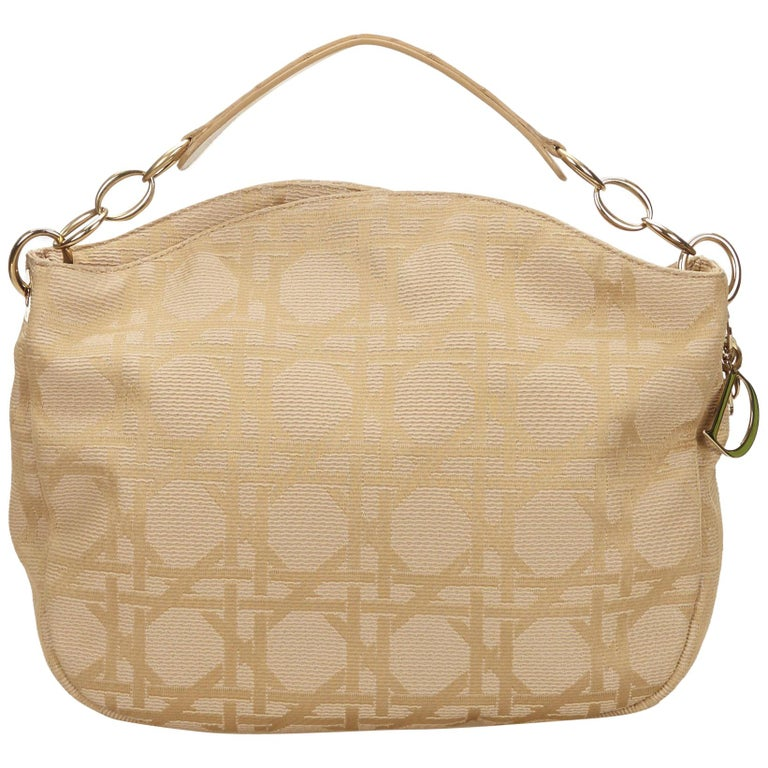 Dior Brown x Beige Cannage Printed Jacquard Hobo For Sale