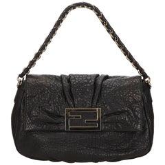 Fendi Black Leather Mia Baguette