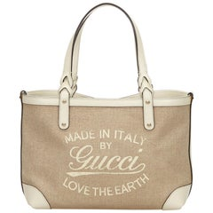 Gucci Brown x Beige x White x Ivory Craft Tote Bag