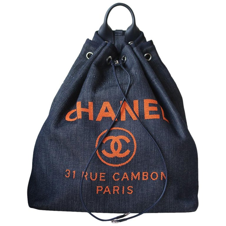 Chanel Deauville Canvas Drawstring Backpack